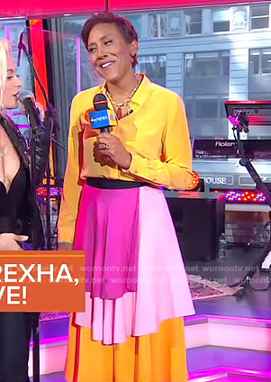 Robin's yellow shirt and layered skirt on Good Morning America