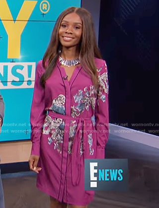 Zuri's pink floral shirtdress on E! News
