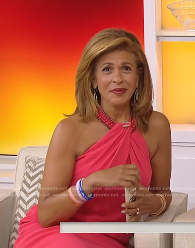 Hoda's orange halter neck dress on Today