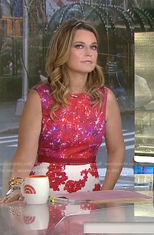 Savannah's red mixed print sheath dress on Today