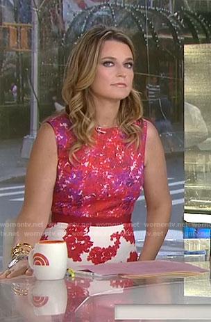 Savannah's red mixed print sheath dress on Today