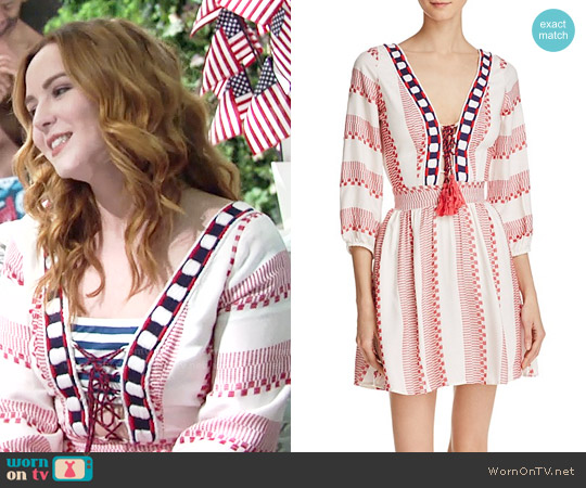 Piper Ramones Embroidered Lace-Up Dress worn by Camryn Grimes on The Young & the Restless