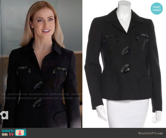 Prada Embellished Wool Blazer worn by Amanda Schull on Suits