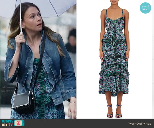 Proenza Schouler Abstract-Print Silk Georgette Maxi Dress worn by Liza Miller (Sutton Foster) on Younger