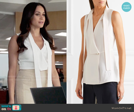 Proenza Schouler Crepe Wrap Top worn by Meghan Markle on Suits