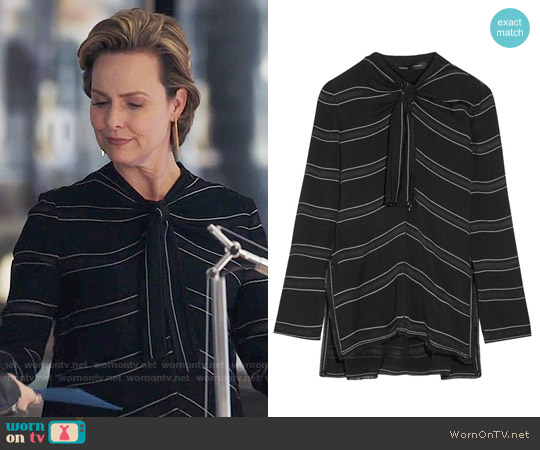 Proenza Schouler Knotted tie-front striped crepe top worn by Jacqueline (Melora Hardin) on The Bold Type