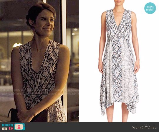 Proenza Schouler Printed Georgette Midi Dress worn by Cobie Smulders on Friends from College
