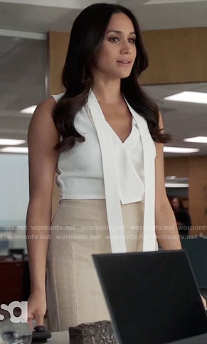 Rachel's white sleeveless top and beige skirt on Suits