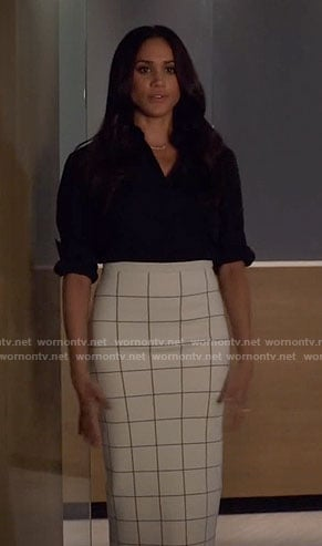 Rachel's white windowpane checked pencil skirt on Suits
