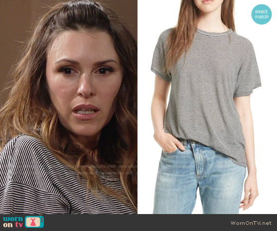 Rag & Bone Stripe Linen Blend Tee worn by Elizabeth Hendrickson on The Young & the Restless