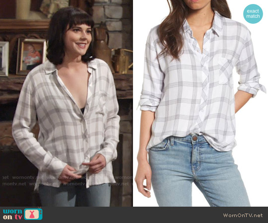 Rails Hunter Shirt in White / Dove / Cinder worn by Tessa Porter (Cait Fairbanks) on The Young & the Restless
