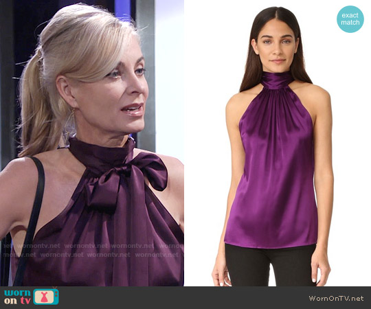 Ramy Brook Paige Top in Gypsy Purple worn by Eileen Davidson on The Young & the Restless