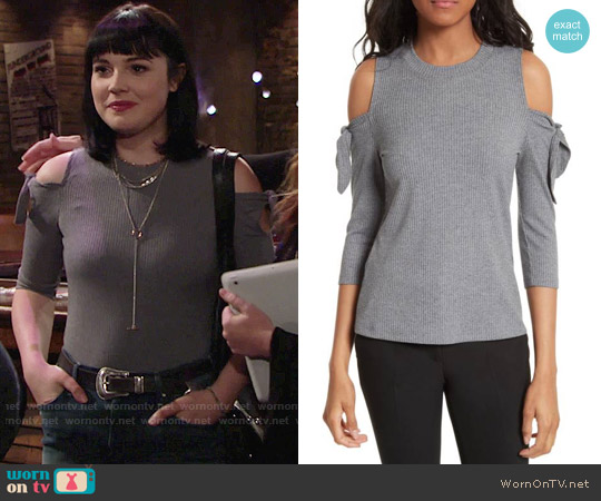 Rebecca Taylor Cold Shoulder Ribbed Jersey Top worn by Tessa Porter (Cait Fairbanks) on The Young & the Restless