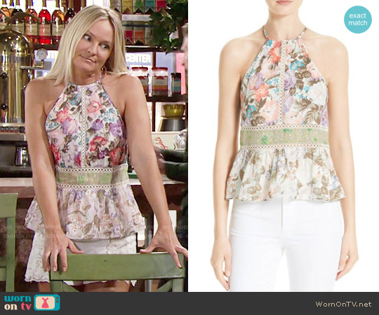 Rebecca Taylor Mixed Floral Tank worn by Sharon Case on The Young & the Restless