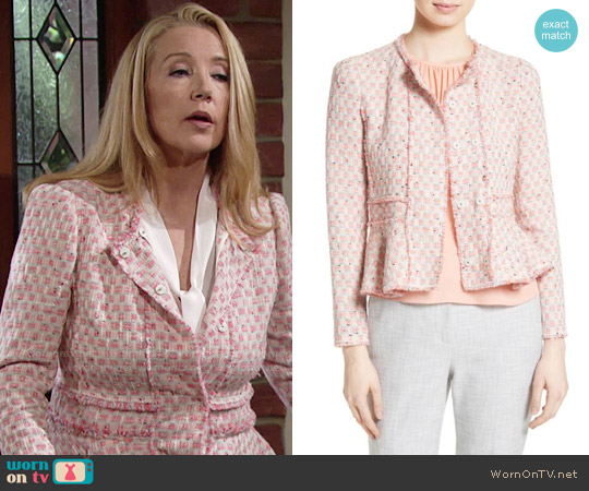 Rebecca Taylor Tweed Peplum Jacket in Pink Grapefruit worn by Nikki Reed Newman (Melody Thomas-Scott) on The Young & the Restless