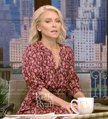 Kelly's red floral ruffled dress on Live With Kelly