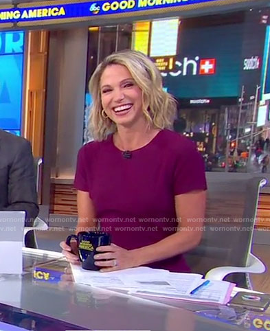 Amy's red short sleeve mini dress on Good Morning America