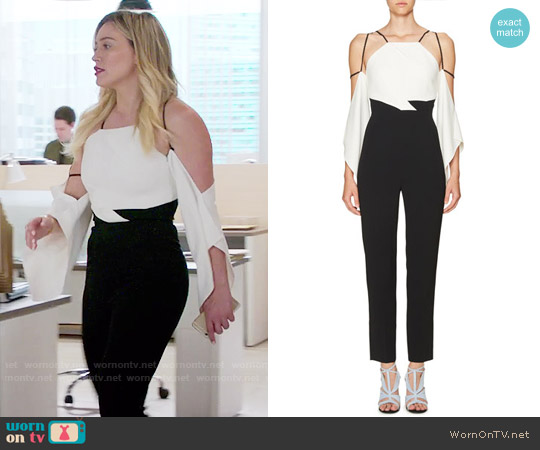 Roland Mouret Draped Half-Sleeve Cold-Shoulder Jumpsuit worn by Kelsey Peters (Hilary Duff) on Younger