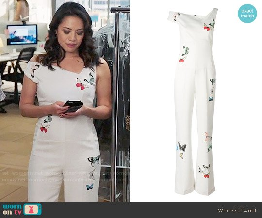 Roland Mouret Butterfly Print Jumpsuit worn by Emily Chang on The Bold Type