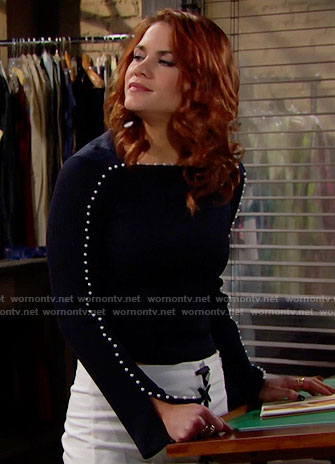Sally's black pearl buttoned top and white lace-up skirt on The Bold and the Beautiful