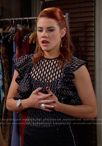 Sally's black eyelet top with ruffle sleeves on The Bold and the Beautiful