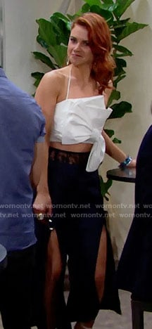 Sally's white bow crop top and slit front pants in Monaco on The Bold and the Beautiful