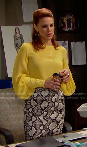 Sally's yellow blouse and snake print skirt on The Bold and the Beautiful