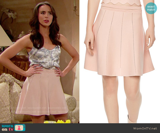 Sandro Leonie Cutwork Skirt worn by Ivy Forrester on The Bold & the Beautiful