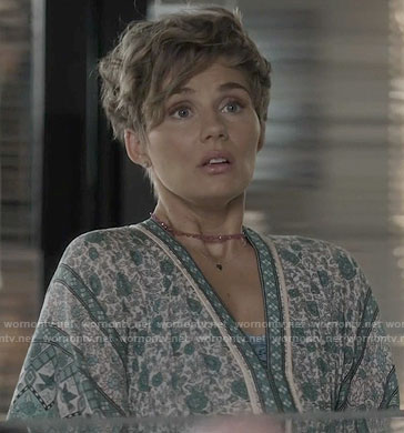 Scarlett's green floral v-neck dress on Nashville