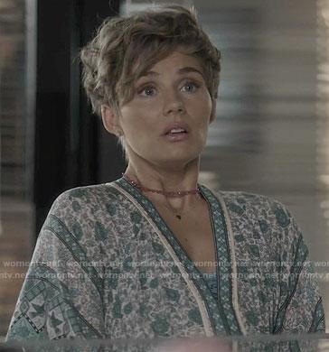Scarlett's green floral v-neck dress on Nashville