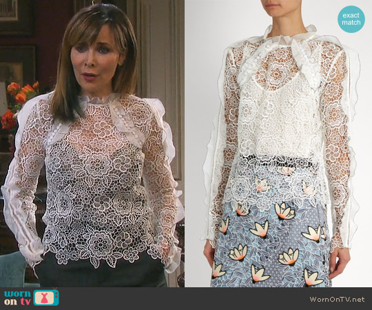 Self Portrait Cutout Floral Lace Ruffled Top worn by Kate Roberts (Lauren Koslow) on Days of our Lives