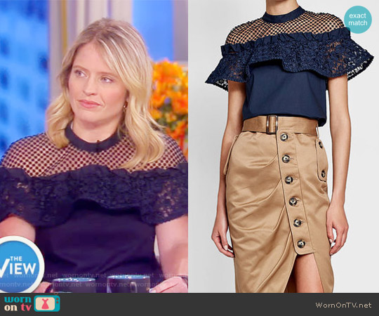 Cotton Top with Lace by Self Portrait worn by Sara Haines on The View