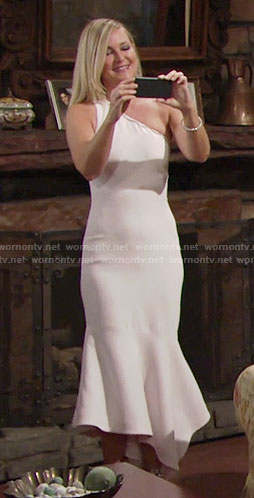 Sharon's light pink one-shoulder midi dress on The Young and the Restless