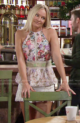 Sharon's floral peplum top and white lace shorts on The Young and the Restless