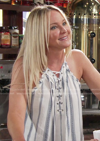 Sharon's striped lace-up top on The Young and the Restless