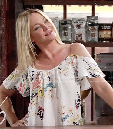 Sharon's white floral cold-shoulder blouse on The Young and the Restless