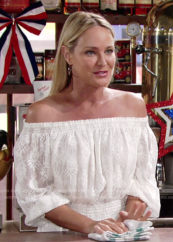 Sharon's white off-shoulder dress on The Young and the Restless