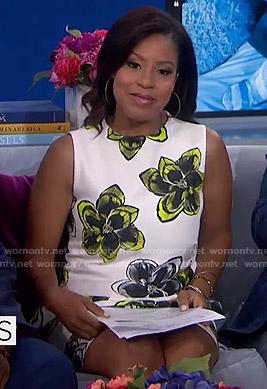 Sheinelle's white floral sleeveless mini dress on Today
