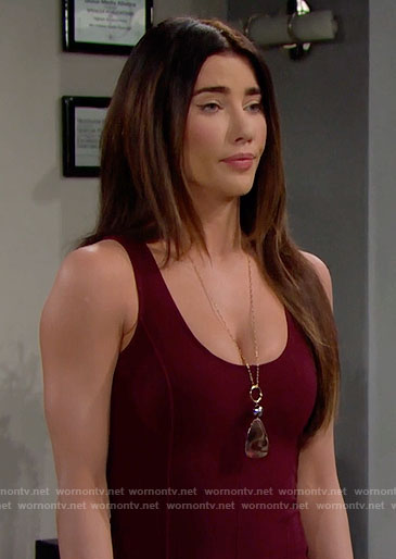 Steffy's burgundy dress and necklace on The Bold and the Beautiful