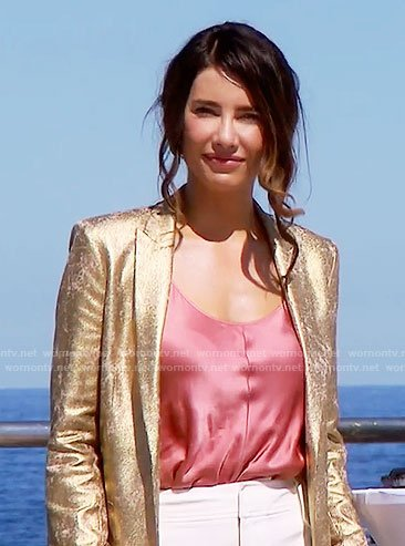 Steffy's gold blazer and pink cami in Monaco on The Bold and the Beautiful