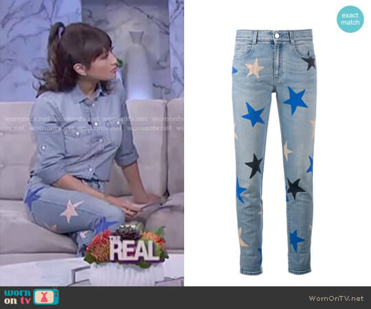 Star Print Cropped Jeans by Stella McCartney worn by Jeannie Mai on The Real