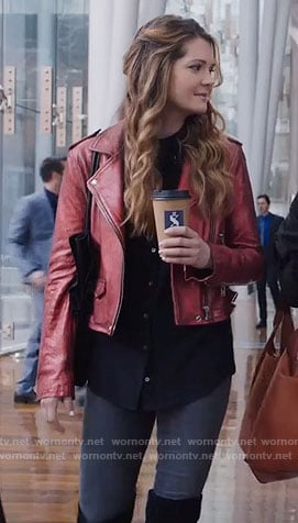 Sutton's metallic red leather jacket on The Bold Type