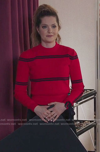 Sutton's red and black striped sweater on The Bold Type