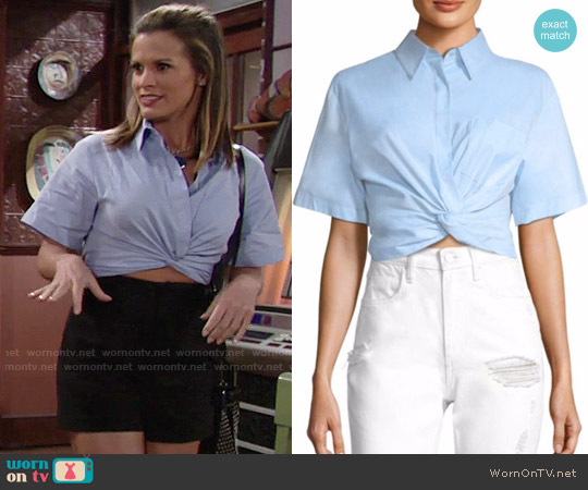 T by Alexander Wang Cotton Twill Twisted Front Cropped Shirt worn by Melissa Claire Egan on The Young & the Restless