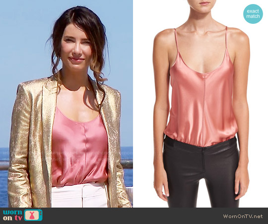 T by Alexander Wang Silk Charmeuse Camisole Bodysuit worn by Jacqueline MacInnes Wood on The Bold & the Beautiful