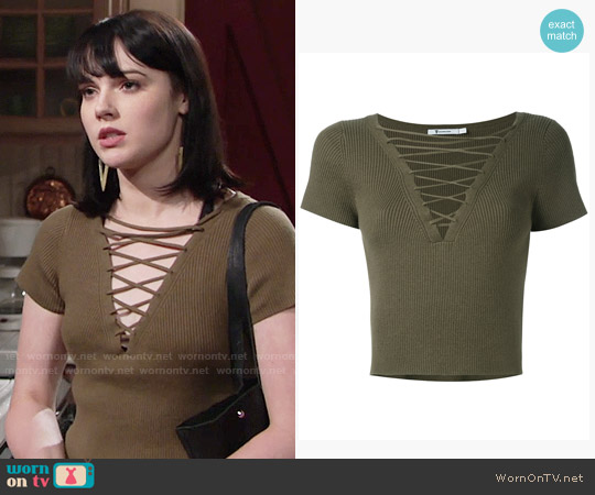 T by Alexander Wang Lace-up Ribbed Top worn by Cait Fairbanks on The Young & the Restless
