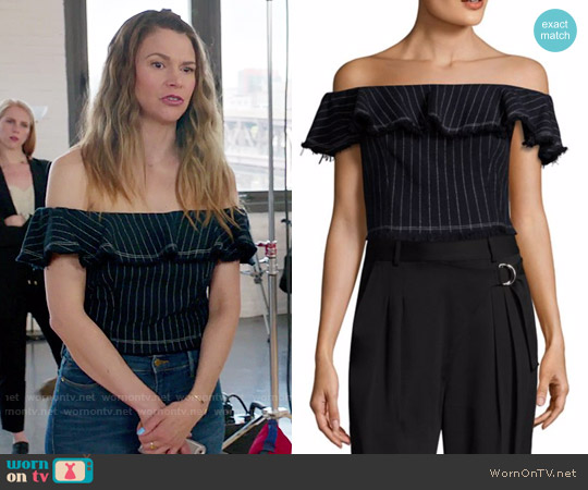 T by Alexander Wang Off Shoulder Crop Top worn by Liza Miller (Sutton Foster) on Younger