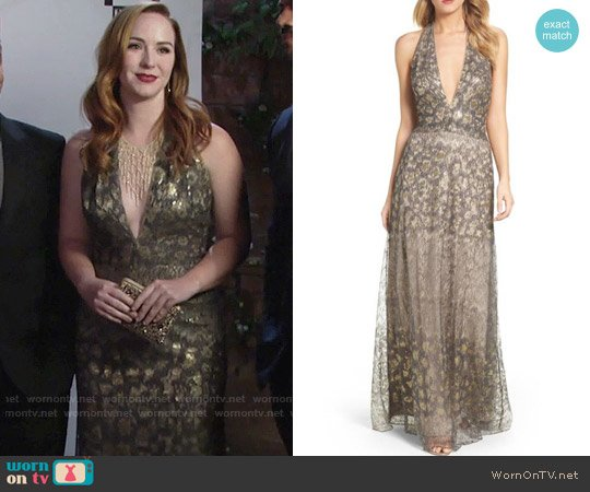 37a63e57527 Tadashi Shoji Sequin Animal Print Halter Gown worn by Mariah Copeland  (Camryn Grimes) on