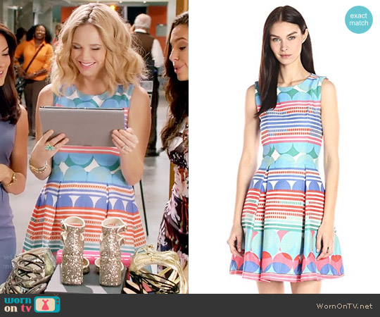 Taylor Dresses Stripes and Circle Printed Stretch Fit-and-Flare Dress worn by Fiona Gubelmann on Daytime Divas