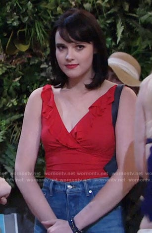Tessa's red ruffled trim swimsuit on The Young and the Restless